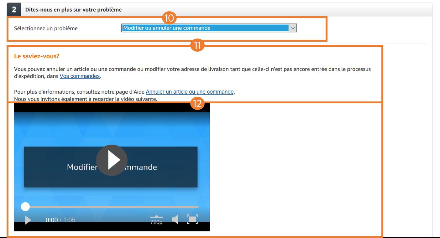 Page Nous Contacter Amazon - détail selfcare